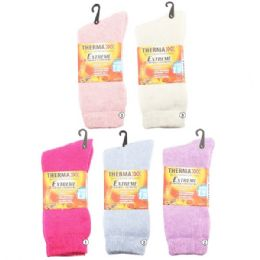 36 Units of Women Winter Thermal Crew Socks Assorted Light Colors - Womens Thermal Socks