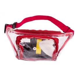 24 Units of PVC Clear Transparent Bulk Fanny Packs Belt Bags with Red Trim - Fanny Pack