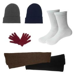 96 Units of Unisex Socks (size 10-13), Winter Gloves, Scarf, Beanie In 5 Assorted Colors - Bundle Care Sets