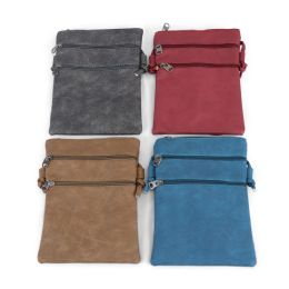 "24 Units of 9"" Inch Crossbody Bags With 3 Zippered Pockets In 4 Assorted Colors - Shoulder Bags & Messenger Bags"
