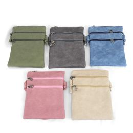 "24 Units of 9"" Inch Crossbody Bags with 3 Zippered Pockets in 5 Assorted Colors - Shoulder Bags & Messenger Bags"