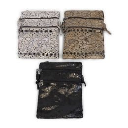 "24 Units of 9"" Inch Crossbody Bags with 3 Zippered Pockets in 3 Assorted Snake Prints - Shoulder Bags & Messenger Bags"