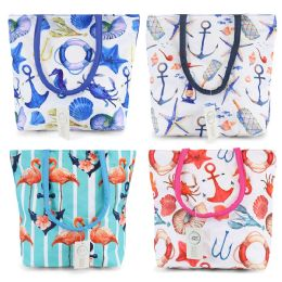 24 Units of Small Beach Bulk Tote Bags In 4 Assorted Prints - Tote Bags & Slings
