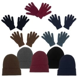 96 Units of Unisex Adult Winter Beanie, Gloves In 5 Assorted Colors - Bundle Care Sets