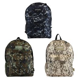 "24 Units of 17"" Camouflage Backpacks with Mesh Water Bottle Pocket in 3 Assorted Colors - School and Office Supply Gear"