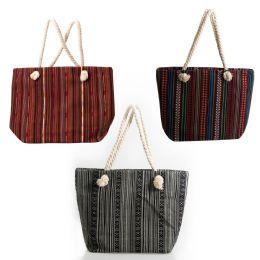 24 Units of Large Rope Handle Jute Tapestry Tote Bags In 3 Assorted Styles - Tote Bags & Slings