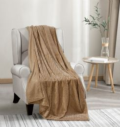 12 Units of Oversized Jacquard Throw 50 X 70 In Mocha - Fleece & Sherpa Blankets