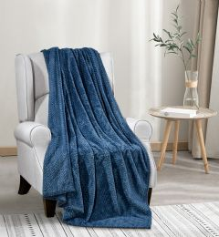 12 Units of Oversized Jacquard Throw 50 X 70 In Blue - Fleece & Sherpa Blankets