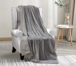 12 Units of Oversized Jacquard Throw 50 X 70 In Grey - Fleece & Sherpa Blankets
