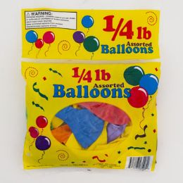96 Units of Balloons 1/4 Lb Asst 7/9/11 Inch In Asst Colors - Balloons & Balloon Holder