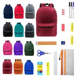 """24 Units of 15"""" Backpacks With 12 Piece School Supply Kit - In 12 Assorted Colors - School and Office Supply Gear"""