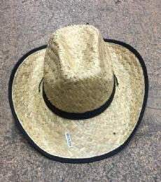 48 Units of Unisex Adults Straw Cowboy Hat With Adjustable Drawstring - Cowboy & Boonie Hat