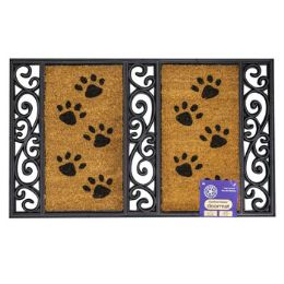 6 Units of Mat Outdoor Paw Print Coco With Rubber Black Trim - Mats