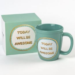 18 Units of Mug Color Glaze Stoneware Today Will Be Awesome Boxed - Coffee Mugs
