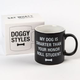 24 Units of Mug Stoneware Dog Smarter Than Honor Student Boxed - Coffee Mugs