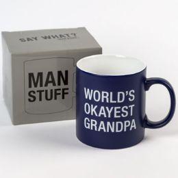 24 Units of Mug Stoneware Worlds Okayest Grandpa - Coffee Mugs