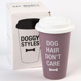 24 Units of Mug Thermal Porcelain Dog Hair Dont Care Boxed - Coffee Mugs