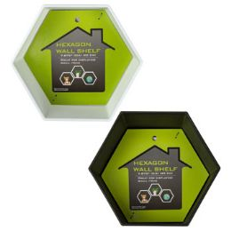 24 Units of Shelf Modular Wall Hexagon Shape Black Or White Plastic - Picture Frames
