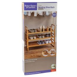 3 Units of Shoe Rack 3 Tier Nesting Bamboo Frame - Footwear & Shoes