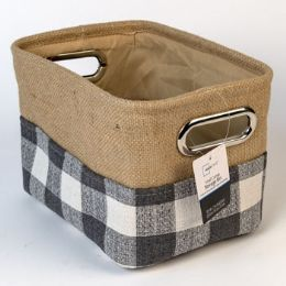 4 Units of Storage Bin Grey White Plaid Burlap Canvas - Baskets