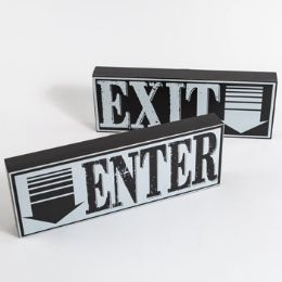 12 Units of Wall Sign Wooden Enter And Exit - Home Decor