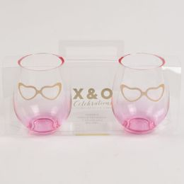 6 Units of Wine Stemless Pink Set Of 2 Gold Heart Glasses Acetate Boxed - Home Accessories