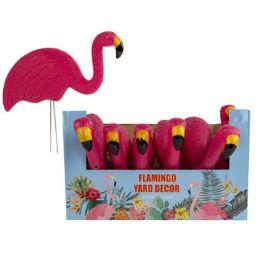 12 Units of Flamingo Yard Decor Pink With Metal Sticks - Garden Decor