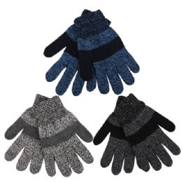 72 Units of Boys Marled Striped Knitted Winter Gloves - Knitted Stretch Gloves