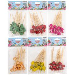 48 Units of Appetizer Picks Wood Flamingo Citrus Summer - Party Paper Goods