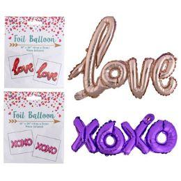 48 Units of Balloon Foil Xoxo Love Assorted Color - Balloons & Balloon Holder
