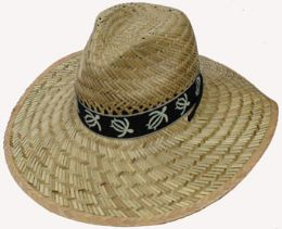 30 Units of Adults Large Straw Hat With Turtle Print - Sun Hats
