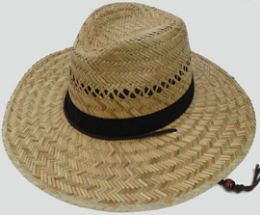 30 Units of Adults Large Straw Hat With Chinstrap - Sun Hats