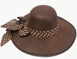 60 Units of Women's Straw Floppy Hat With Bow - Sun Hats