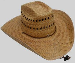 25 Units of Men's Straw Cowboy Hat With Chinstrap - Cowboy & Boonie Hat