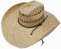 50 Units of Adults Large Rim Straw Sun Hat With Chinstrap - Sun Hats