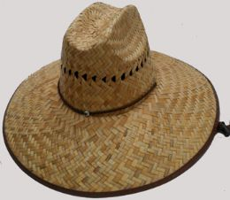 50 Units of Adults Wide Brim Straw Sun Hat With Chinstrap - Sun Hats