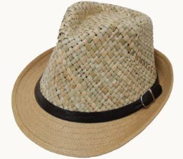 36 Units of Adult Straw Top Fedora With Belt Band - Fedoras, Driver Caps & Visor