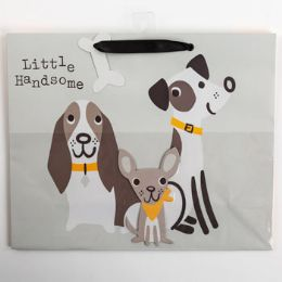 60 Units of Gift Bag Large Vogue Embellished Dogs Handsome - Gift Bags Everyday