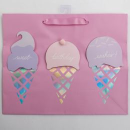 60 Units of Gift Bag Large Vogue Embellished Ice Cream - Gift Bags Everyday