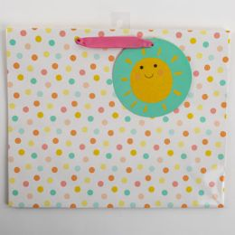 60 Units of Gift Bag Large Vogue Embellished Sunshine With Dots - Gift Bags Everyday