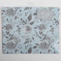 60 Units of Gift Bag Large Vogue Embellished Teal Rose Mr And Mrs - Gift Bags Everyday