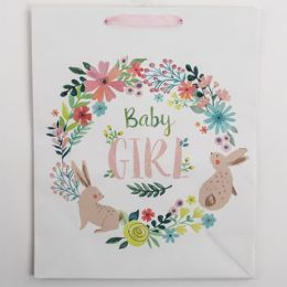 60 Units of Gift Bag Large Vogue Embellished Baby Girl - Gift Bags Everyday