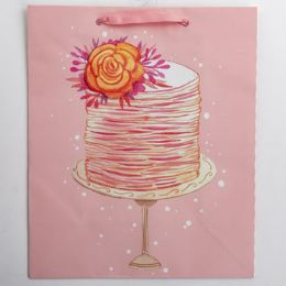 60 Units of Gift Bag Large Cub Embellished Cake With Flowers - Gift Bags Everyday