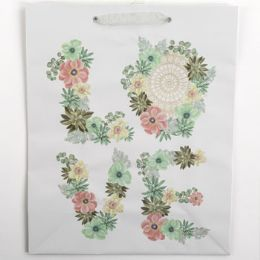 60 Units of Gift Bag Large Cub Embellished Glitter Floral - Gift Bags Everyday