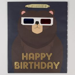60 Units of Gift Bag Large Cub Embellished Happy Birthday Bear - Gift Bags Everyday