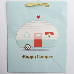 60 Units of Gift Bag Large Cub Embellished Happy Campers - Gift Bags Everyday