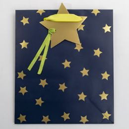60 Units of Gift Bag Cub Embellished Blue Starry Night - Gift Bags Everyday