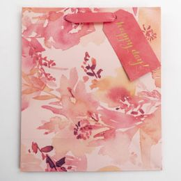 60 Units of Gift Bag Cub Embellished Coral Floral - Gift Bags Everyday