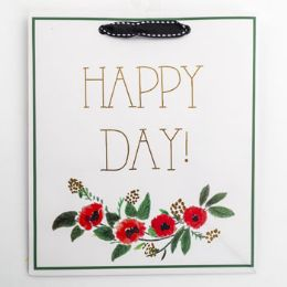 60 Units of Gift Bag Cub Embellished Happy Day Green - Gift Bags Everyday