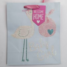 60 Units of Gift Bag Cub Embellished Stork Baby Girl - Gift Bags Everyday